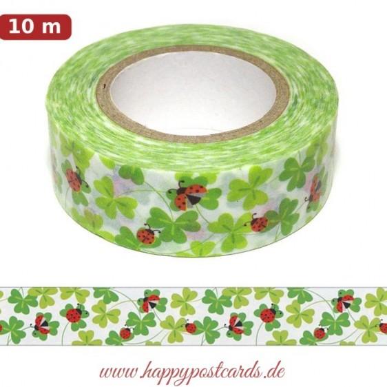 Washi Tape - Marienkäfer auf Kleeblättern - Masking Tape