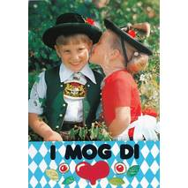 Bavarian children in traditional costumes - Viewcard