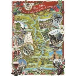 Ahr Map - Tausendschön - Postcard