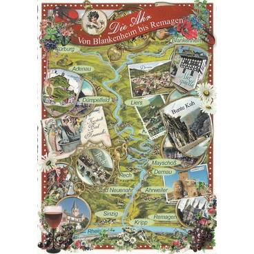 Ahr Map - Tausendschön - Postkarte
