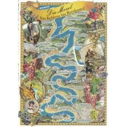 Mosel Map - Tausendschön - Postcard