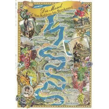 Mosel Map - Tausendschön - Postkarte