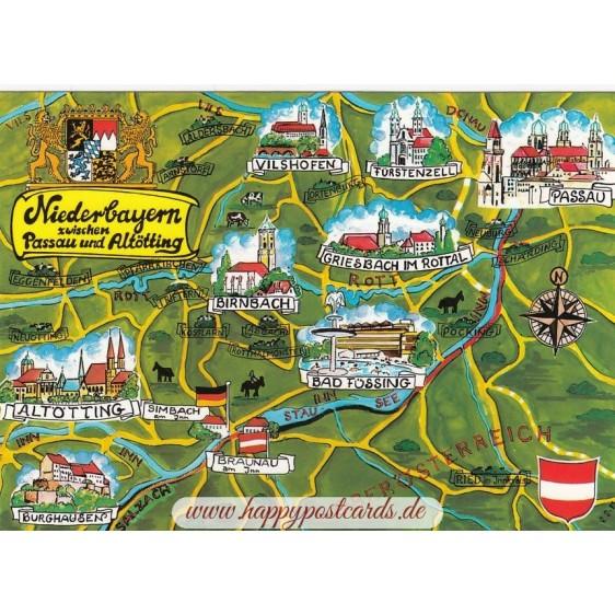 Niederbayern - Map - Postkarte