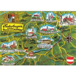 Niederbayern - Map - Postcard