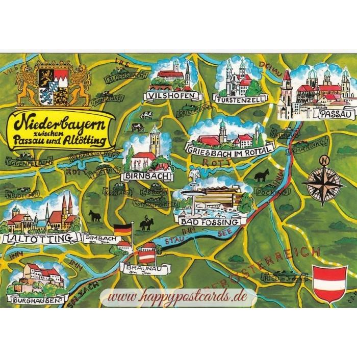 Ansichtskarten Maps Landkarten Niederbayern Map
