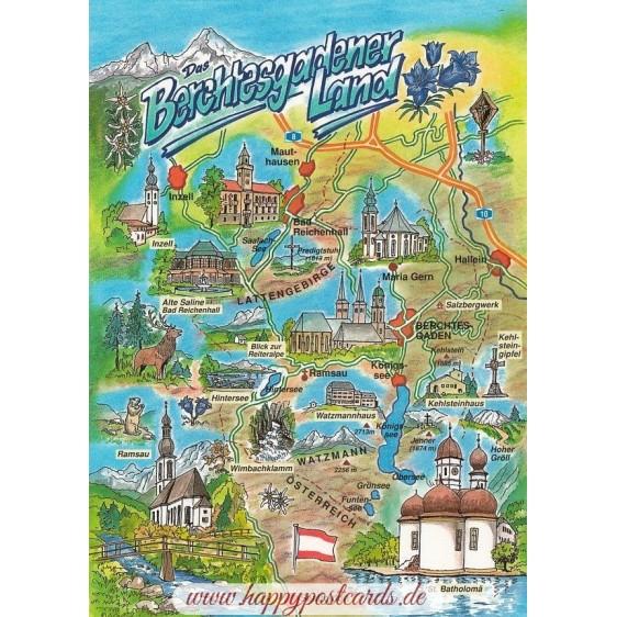 Berchtesgadener Land - Map - Postcard