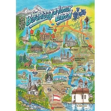 Berchtesgadener Land - Map - Postkarte