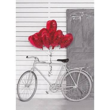 Fahrrad mit Herzballons - Kontraste - Postkarte