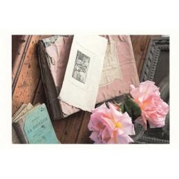 La Fontaine und Rosen - Aquarupella Postkarte