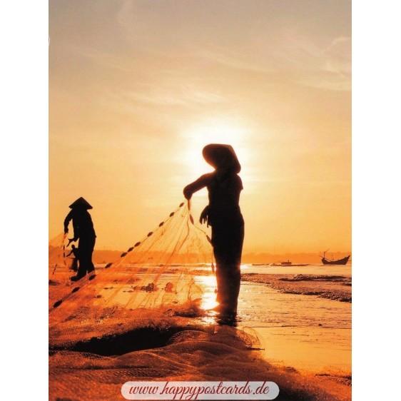 Fishing at sunrise - Vietam - Aquarupella postcard