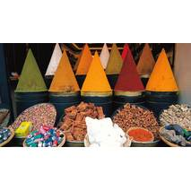 Spice stand in medina Market - Marrakesh - Marocco - Aquarupella postcard