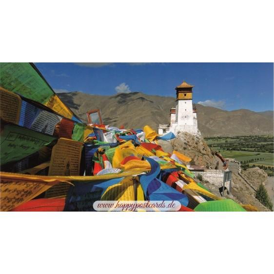 Prayer flags - Yarlung Valley - Tibet - Aquarupella postcard
