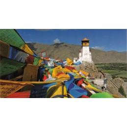 Gebetsfahnen - Yarlung Tal - Tibet - Aquarupella Postkarte