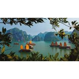 Ha Long Bucht - Vietnam - Aquarupella Postkarte