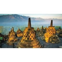 Borobudur Tempel - Indonesien - Aquarupella Postkarte