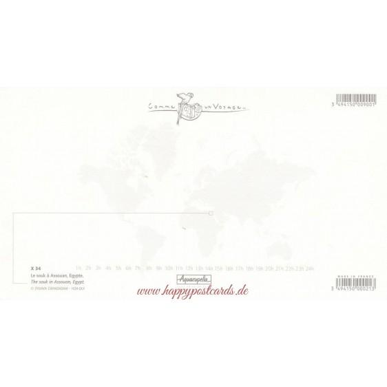 Gewürzstand auf dem Suq - Assouan - Ägypten - Aquarupella Postkarte