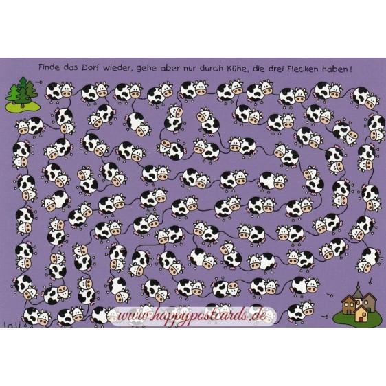 Finde das Dorf wieder, gehe aber nur durch Kühe, die drei Flecken haben! - Lali Postkarte