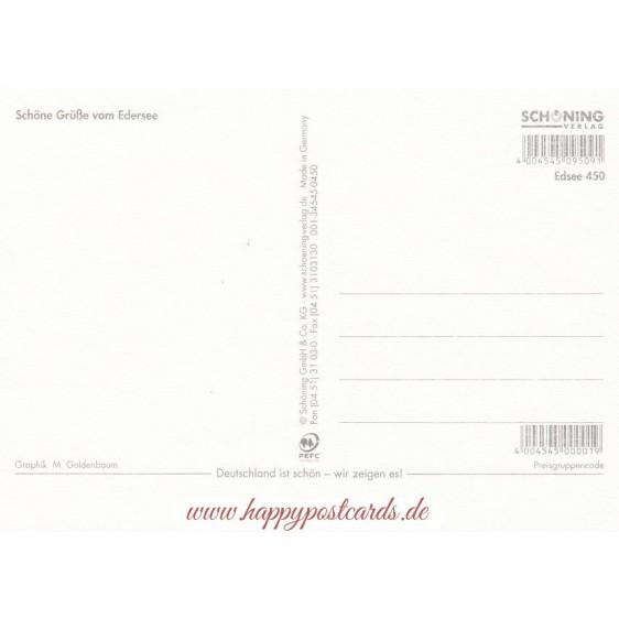 Edersee - Map - Postkarte