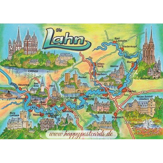 Die Lahn - Map - Postkarte