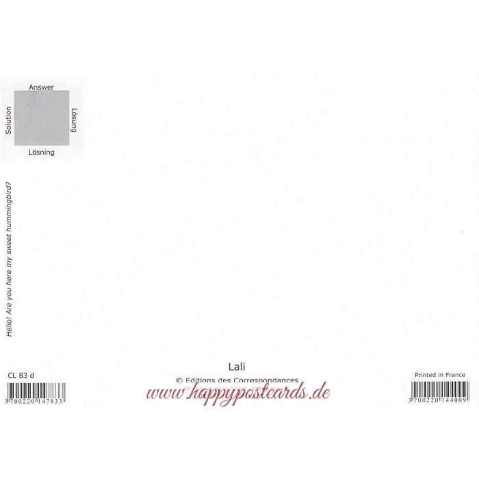 postkarten lali wo hat sich ein kolibri versteckt lali postkarte correspondances. Black Bedroom Furniture Sets. Home Design Ideas