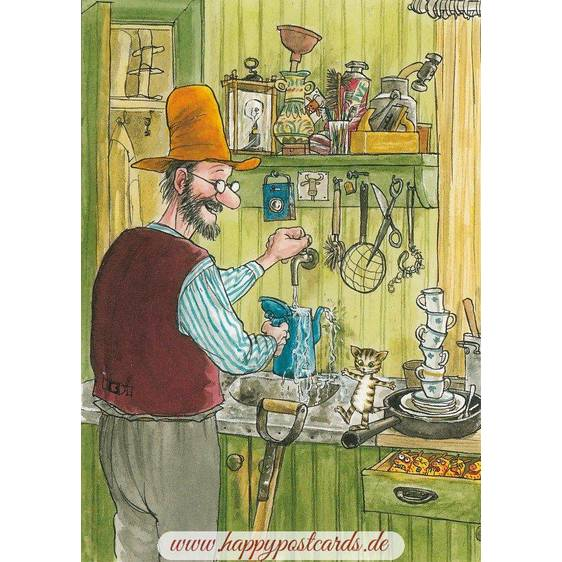 Pettersson with Findus in the kitchen - Pettersson postcard