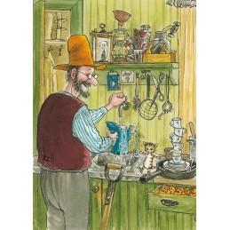 Pettersson mit Findus in der Küche - Pettersson Postkarte