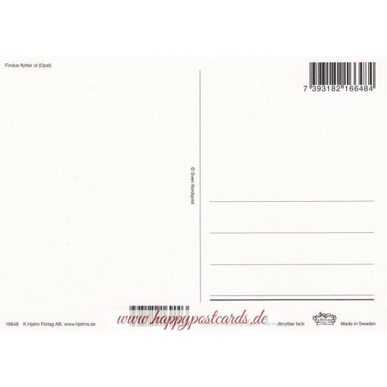 Pettersson und Findus essen Pfannkuchen - Pettersson Postkarte