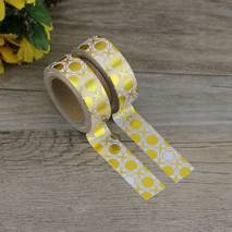 Gold - White Circles - Foil - Washi Tape - Masking Tape