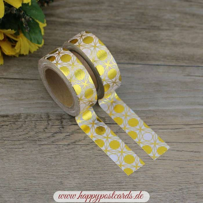 washi tape gold wei e kreise folie washi tape masking tape happy postcards. Black Bedroom Furniture Sets. Home Design Ideas