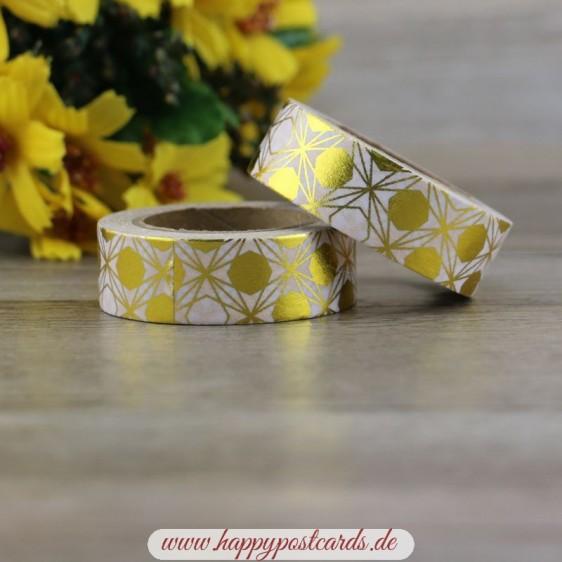 Gold - White Circles - Foil - Washi Tape - Masking Tape
