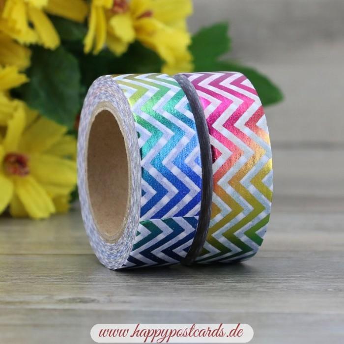 masking tape rainbow jags foil washi tape masking tape happy postcards. Black Bedroom Furniture Sets. Home Design Ideas
