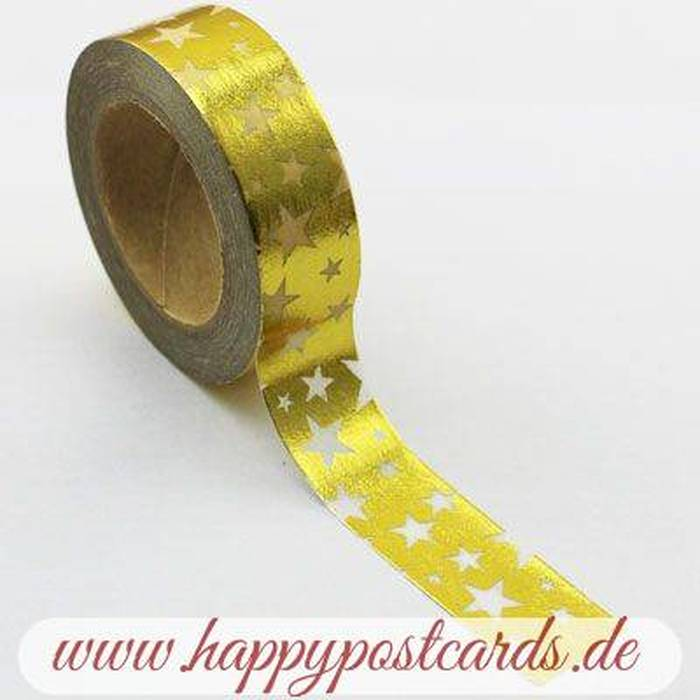 washi tape gold sterne folie washi tape masking tape happy postcards. Black Bedroom Furniture Sets. Home Design Ideas