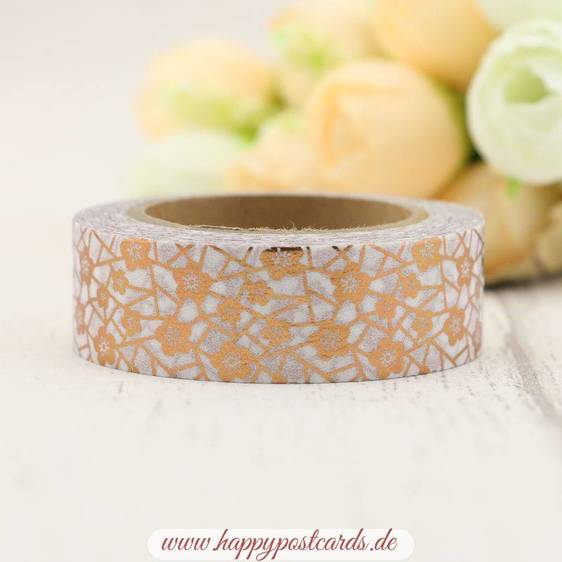 Flowers Gold - Foil - Washi Tape - Masking Tape