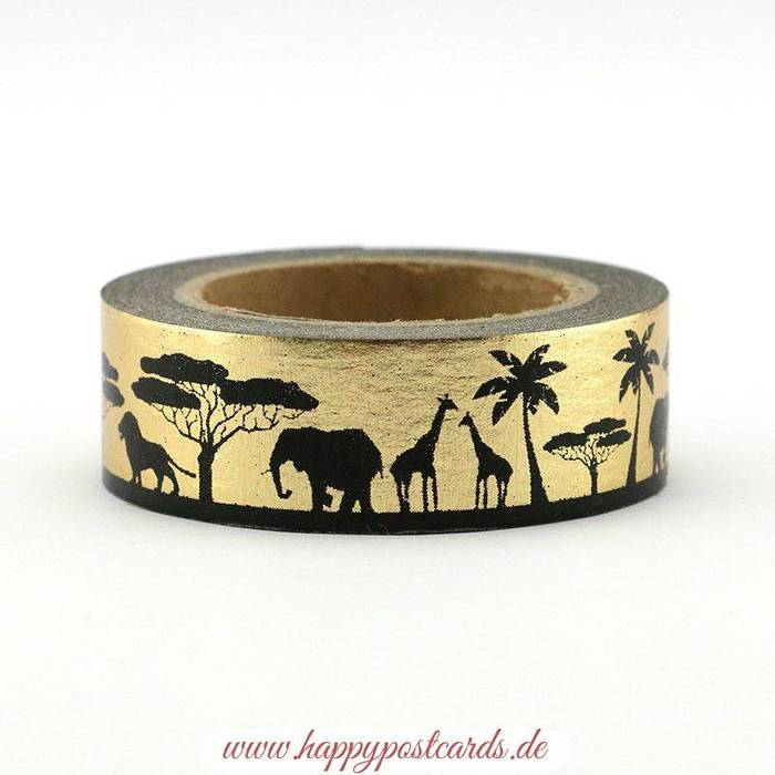 washi tape afrika gold folie washi tape masking tape happy postcards. Black Bedroom Furniture Sets. Home Design Ideas