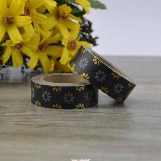 Flowers - Black Foil - Washi Tape - Masking Tape