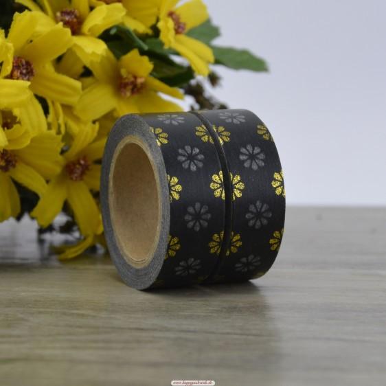 Blumen - Schwarze  Folie - Washi Tape - Masking Tape
