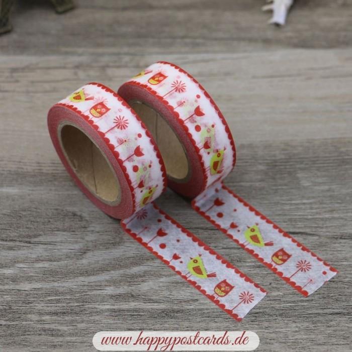 washi tape vogel rot gelb washi tape masking tape. Black Bedroom Furniture Sets. Home Design Ideas