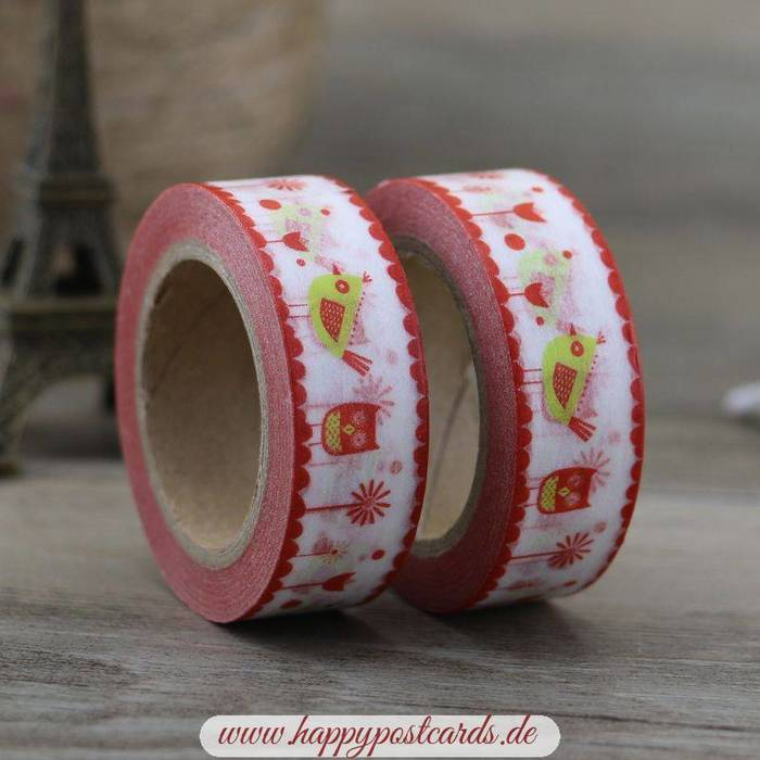 washi tape vogel rot gelb washi tape masking tape happy postcards. Black Bedroom Furniture Sets. Home Design Ideas