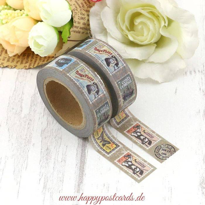 washi tape briefmarken washi tape masking tape happy postcards. Black Bedroom Furniture Sets. Home Design Ideas