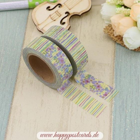 Flowers ans Stripess - Washi Tape - Masking Tape