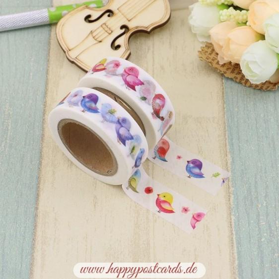 Colourful Birds - Washi Tape - Masking Tape