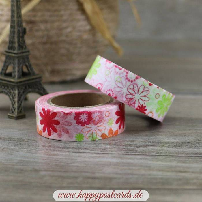 washi tape rote blumen washi tape masking tape happy postcards. Black Bedroom Furniture Sets. Home Design Ideas
