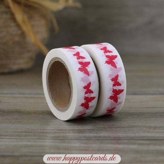 Red Butterflies - Washi Tape - Masking Tape