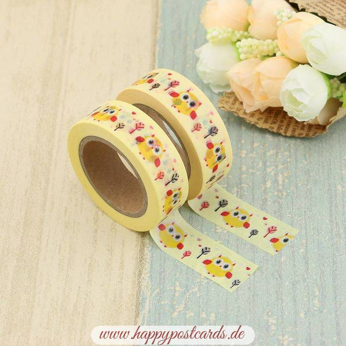 washi tape gelbe eulen washi tape masking tape happy postcards. Black Bedroom Furniture Sets. Home Design Ideas