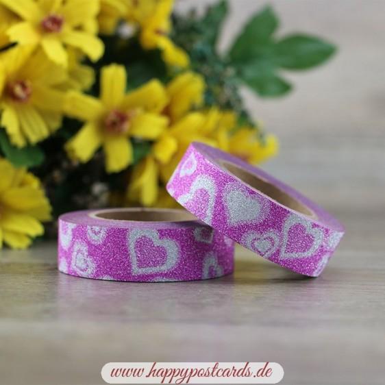 Pink Hearts - Glitter - Washi Tape - Masking Tape