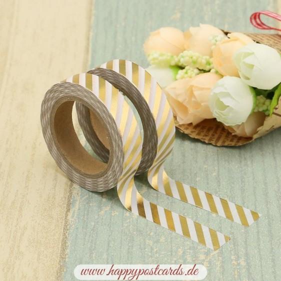 White-golden stripes Gold - Foil - Washi Tape - Masking Tape