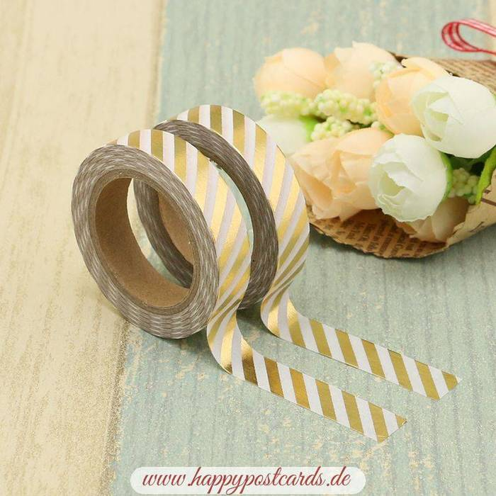 washi tape wei goldene streifen 10mm gold folie washi tape masking tape happy postcards. Black Bedroom Furniture Sets. Home Design Ideas