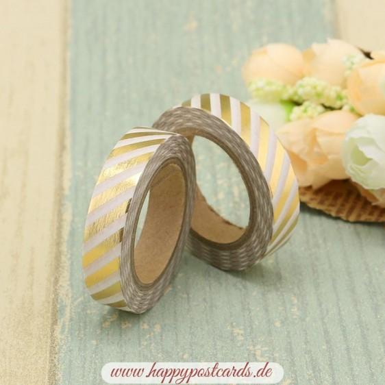Weiß-goldene Streifen Gold - Folie - Washi Tape - Masking Tape