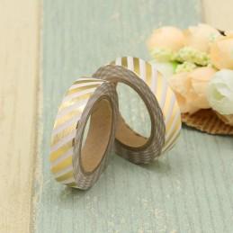 Weiß-goldene Streifen 10mm Gold - Folie - Washi Tape - Masking Tape