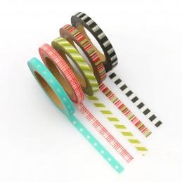 Mix 5 thinn rolls - Washi Tape - Masking Tape